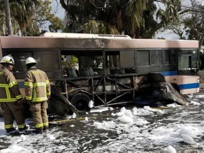 Bus Engulfed in Flames in March Also Caught on Fire in February