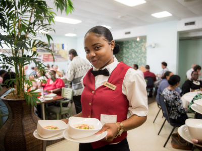 Hotel Restaurant Chef Visits Culinary Students Preparing Luncheons at Bermuda College