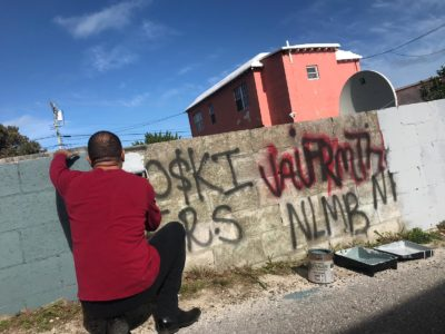 National Security Minister on North Terrace Pembroke Gang Graffiti