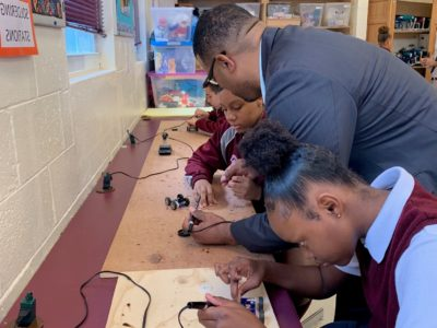 Education Minister Visits STEM Class at Sandys Secondary Middle School