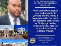 St George's Municipal Election Results: Nyon Dowling 192 – Alfonso Harris 17