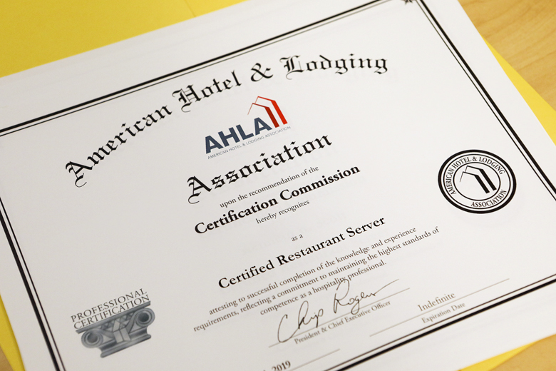 Seven Graduates Recognized on Receiving Restaurant Server