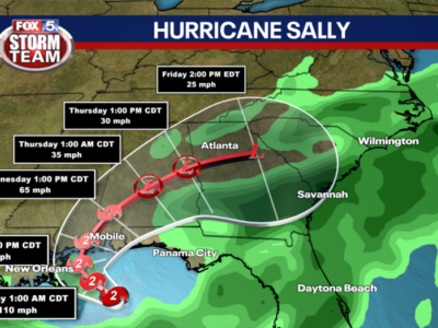Hurricane Sally A Category 2 Storm; NHC Monitoring Another Hurricane & Two Tropical Storms