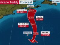 Teddy Expected To Pass 120.8 Miles ESE Of Bermuda Around Noon Packing Winds At 98 MPH With Gusts To 121 MPH