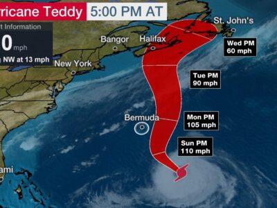 Hurricane Teddy Likely To Sideswipe Bermuda & Still A Major Threat To Bermuda