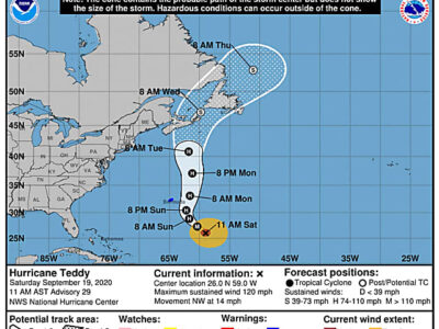 NHC: Teddy's Centre Expected To Pass Just East Of Bermuda Monday Morning