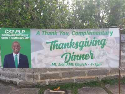 PLP MP Scott Simmons Hosting A Free 'Thanksgiving Thank You' Dinner At Mount Zion AME