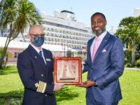 Premier Presents Cedar Plaque To Welcomes Viking Orion Captain To Bermuda